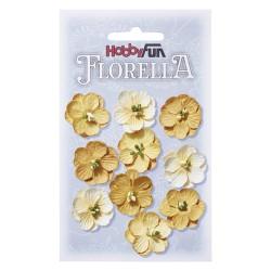 Florella kwiatki papierowe 2,5cm 10 sztuk biało-różowe