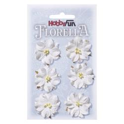 Florella kwiatki papierowe 3,5cm 6 sztuk ecru