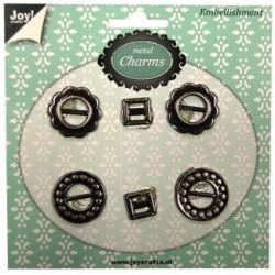 Metal charms Joy listki 6 szt