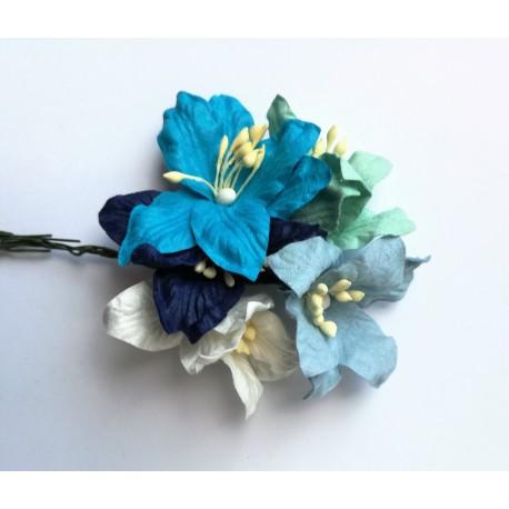 Lilie niebieski MIX 4cm zestaw 5 szt.