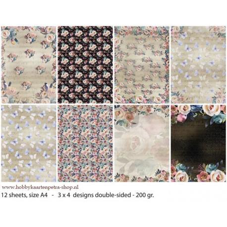 White Flowers zestaw papierów A4 12szt.