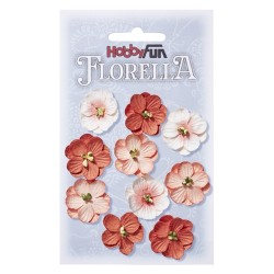 Florella kwiatki papierowe 2,5cm 10 sztuk beżowe