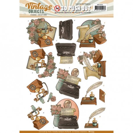 Vintage Objects - Cars ozdoby 3D Push Out, arkusz A4