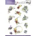 Timeless Flowers - Violets ozdoby 3D Push Out, arkusz A4