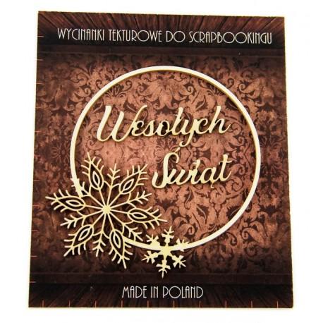Tekturka ramka+napis Wesołych Świąt SNOWFLAKE