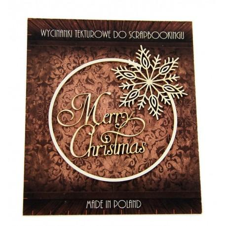 Tekturka ramka+napis Merry Christmas SNOWFLAKE