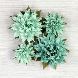 Antique Fusion Aqua DUŻE kwiatki papierowe 10 szt