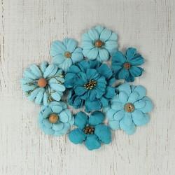 Antique Fusion Aqua DUŻE kwiatki papierowe 8 szt