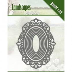 Landscapes ramka kwadrat 9,5 cm wykrojniki 7szt Jeanines Art