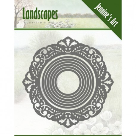 Landscapes ramka owal 9,5 cm wykrojniki 7szt Jeanines Art