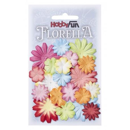 Florella kwiatki papierowe 2-4cm MIX 20szt. fiolet/zieleń