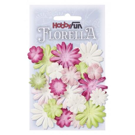 Florella kwiatki papierowe 2-4cm MIX 20szt. czerwień/pomarańcz