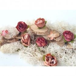 Róże materiałowe 3-3,5 cm zestaw 6 szt