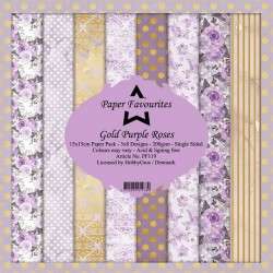 Papiery Dixi Craft 15x15cm Gold Purple Roses