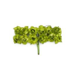Róże papierowe 1,5cm 12szt.  zielone