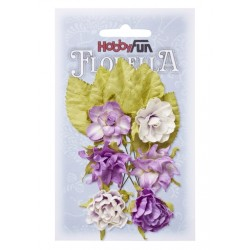 Florella kwiatki papierowe 2-4cm MIX róż/zieleń 20szt.