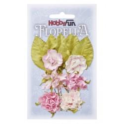 Florella kwiatki i listki papierowe zestaw 12szt. fioletowe