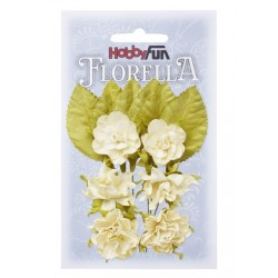 Florella kwiatki i listki papierowe zestaw 12szt. różowe