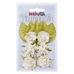 Florella kwiatki i listki papierowe zestaw 12szt. kremowe