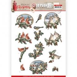 Christmas Birds PUSH OUT ozdoby 3D, arkusz A4