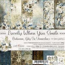 LOVELY WHEN YOU SMILE - zestaw papierów 15x15cm