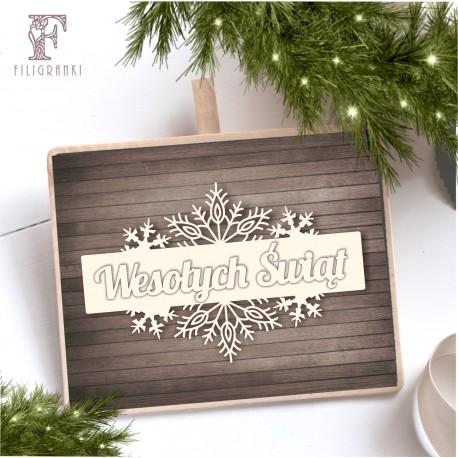 Tekturka szyld+napis Merry Christmas SNOWFLAKE