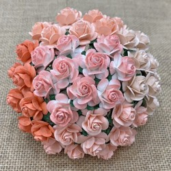 Róże 30mm, zestaw 5szt. różowe