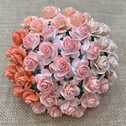 WOC Róże 20mm, 10 szt.  brzoskwiniowo-pomarańczowe