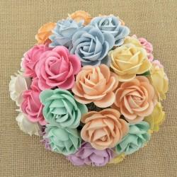WOC Róże CHELSEA 35mm, zestaw 10 szt.  pastelowy MIX kolorów