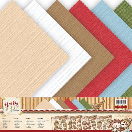 Zestaw papierów ze strukturą płótna 30x30cm 12szt.