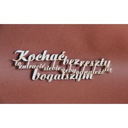 Tekturka napis KOCHAĆ BEZ RESZTY