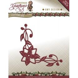Wykrojnik Amy Design - Christmas Greetings - Poinsettia Corner