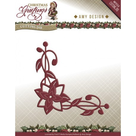 Wykrojnik Amy Design - Christmas Greetings - Poinsettia Corner