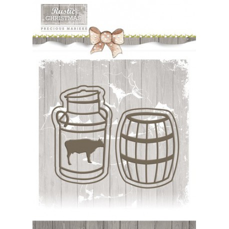 Wykrojnik Precious Marieke - Rustic Christmas - Milk Churn and Barrel