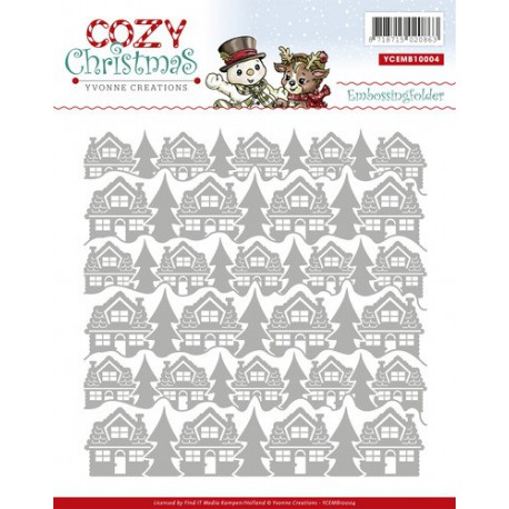 Cozy Christmas Embossing Folder - Yvonne Creations