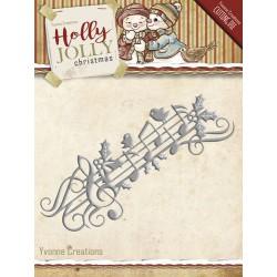 Music Border wykrojnik Yvonne Creations - Holly Jolly