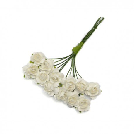 Róże papierowe 1,5 cm 12szt. czerwone